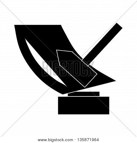 Trophy sign with hammer icon in black simple style isolated on white background