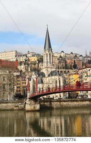 Lyon cityscape on Saone river of France