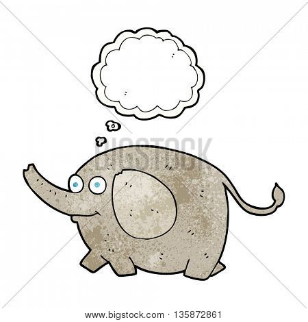 freehand drawn thought bubble textured cartoon elephant