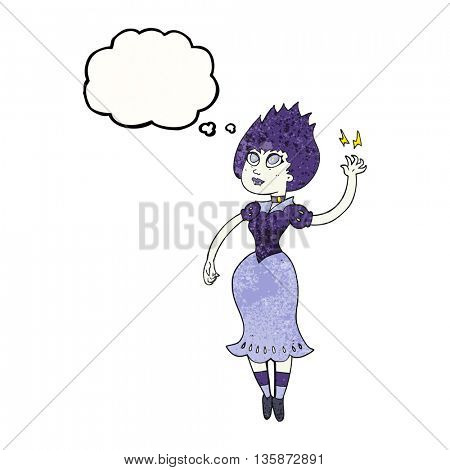 freehand drawn thought bubble textured cartoon vampire girl
