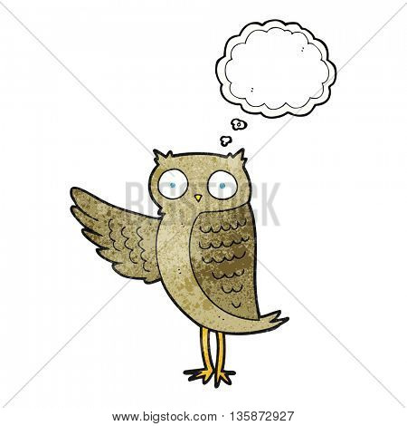 freehand drawn thought bubble textured cartoon owl