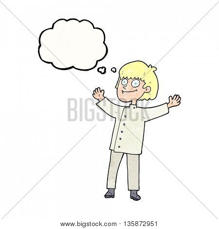 freehand drawn thought bubble textured cartoon chef