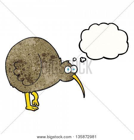 freehand drawn thought bubble textured cartoon kiwi bird