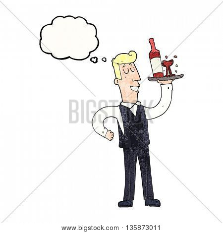 freehand drawn thought bubble textured cartoon waiter