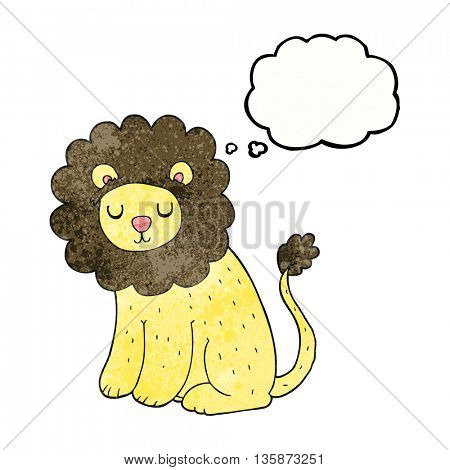 freehand drawn thought bubble textured cartoon cute lion