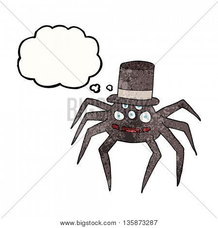 freehand drawn thought bubble textured cartoon halloween spider