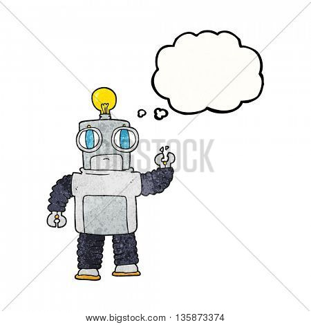 freehand drawn thought bubble textured cartoon robot