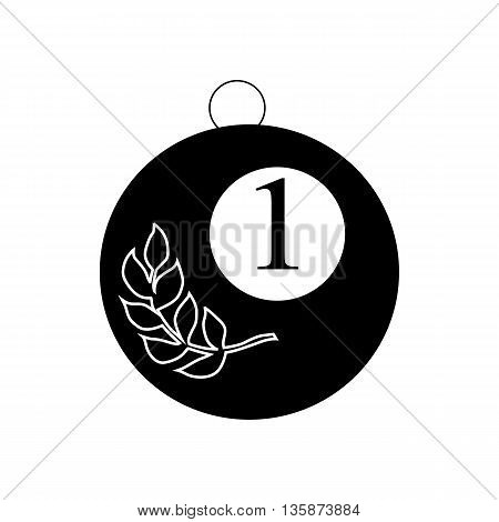 Gold medal with olive branch icon in black simple style isolated on white background