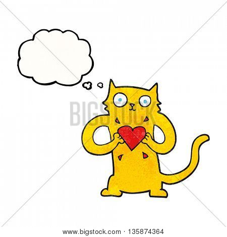freehand drawn thought bubble textured cartoon cat with love heart