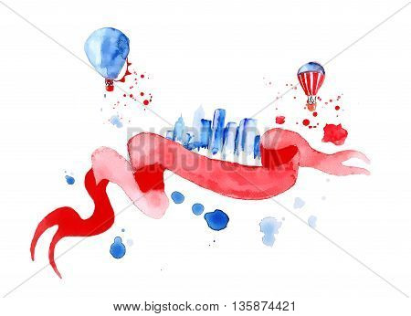 Silhouette overlay city with splashes of watercolor drops streaks landmarks in blue tones with red ribbon and balloons hand-drawn painting