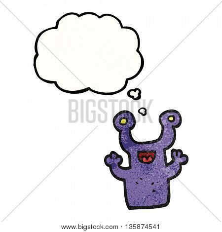 freehand drawn thought bubble textured cartoon little alien
