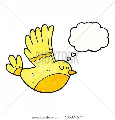 freehand drawn thought bubble textured cartoon flying bird