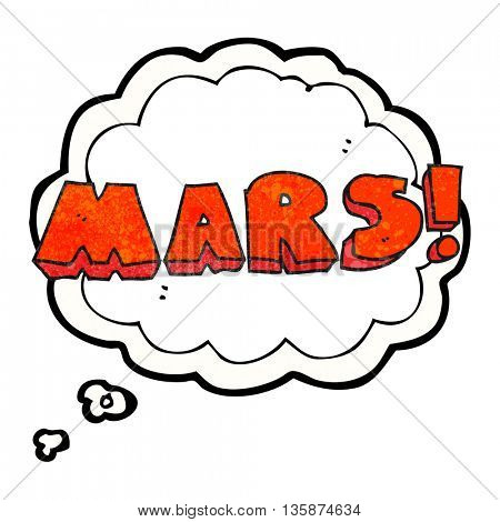 freehand drawn thought bubble textured cartoon Mars text symbol