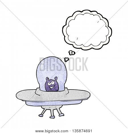 freehand drawn thought bubble textured cartoon spaceship