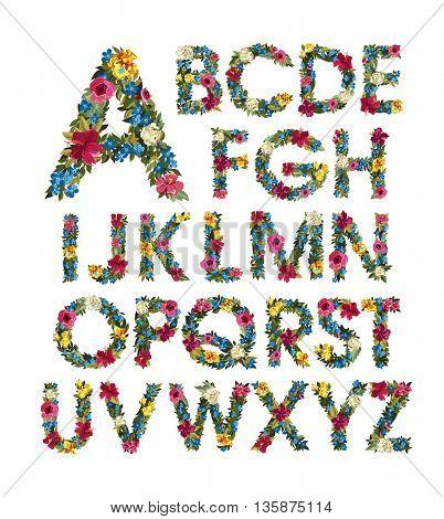 Colorful floral alphabet.