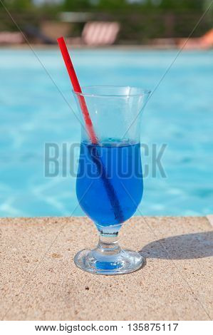 Blue Cocktail Near Pool