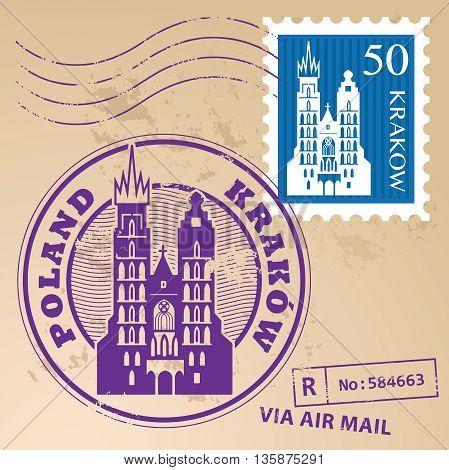 Grunge rubber stamp set with words Krakow, Poland inside, vector illustration
