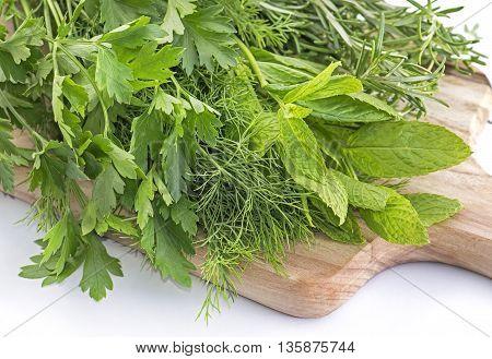 Close up Fresh herbs on cutting board