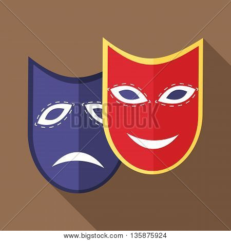 Carnival mask icon in flat style with long shadow. Events and parties symbol