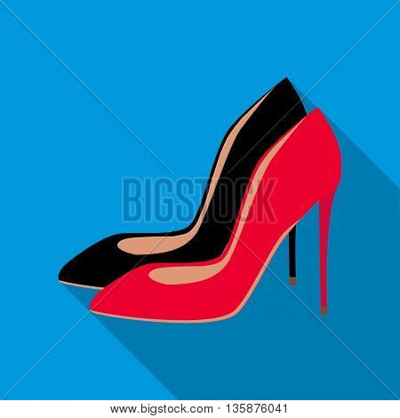 High heel shoes icon in flat style with long shadow. Women shoes symbol