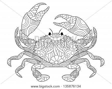 Crab coloring book for adults vector illustration. Anti-stress coloring for adult. Zentangle style decapod crustaceans. Black and white lines. Lace pattern