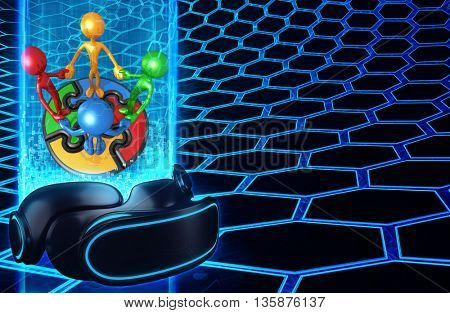 Virtual Reality VR Puzzle Team 3D Illustration