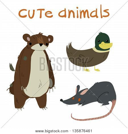 Animals set. With teddy bear, duck and rat flat icon mascot.