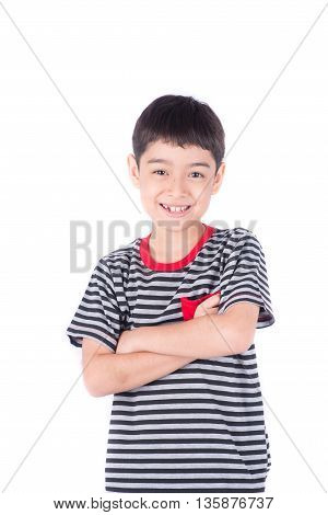 Little boy with funny face on white background