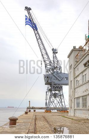 THESSALONIKI GREECE - March 14.2016: Cargo and passengercity seaport