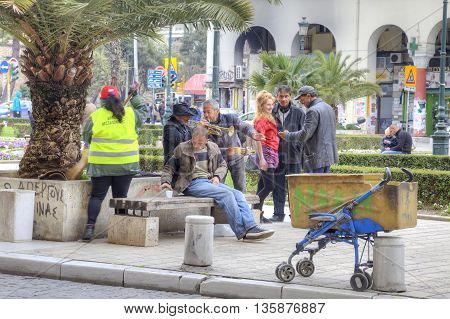 THESSALONIKI GREECE - March 14.2016: People playing musical instruments and entertain on the Aristotle Street in the historic center of Thessaloniki