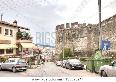 THESSALONIKI GREECE - March 14.2016: Road along an old fortress wall