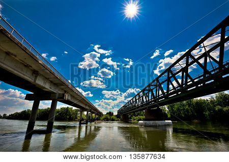 Two bridges on Drava river in Podravina region of Croatia