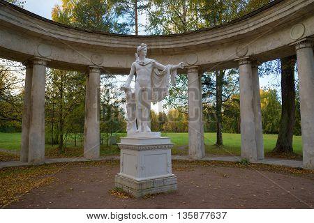 SAINT PETERSBURG, RUSSIA - OCTOBER 06, 2015: Sculpture of Apollo, october evening. Historical landmark of the Pavlovsk, Russia