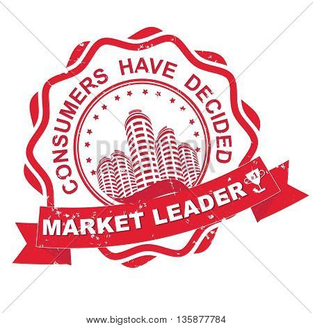 Market leader in real estate business. Consumers have decided - grunge red label / sticker. Print colors used