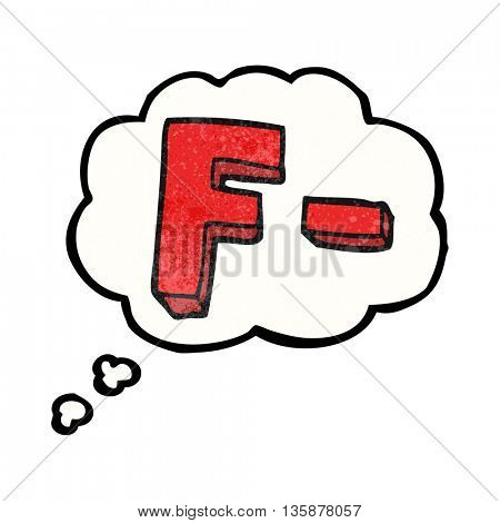 freehand drawn thought bubble textured cartoon F grade