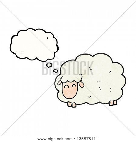freehand drawn thought bubble textured cartoon sheep