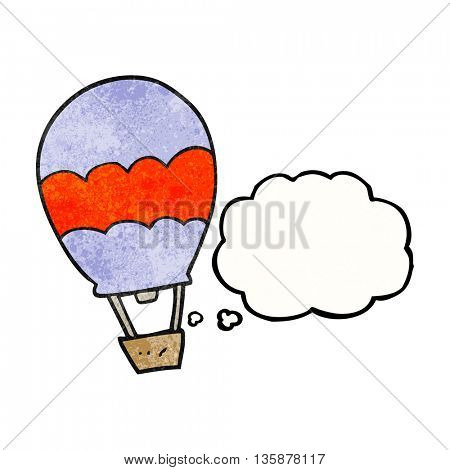 freehand drawn thought bubble textured cartoon hot air balloon