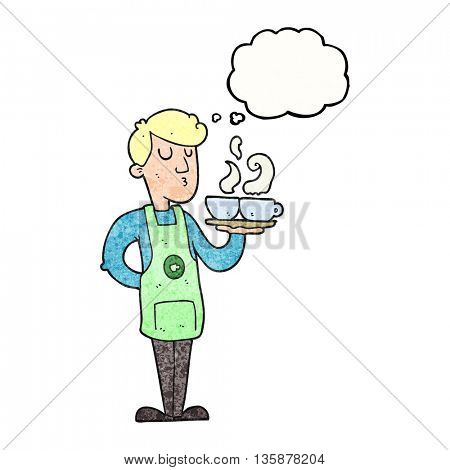 freehand drawn thought bubble textured cartoon barista serving coffee