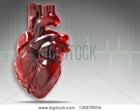 Abstract medical and health backgrounds with human heart, 3D rendered object