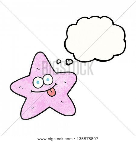 freehand drawn thought bubble textured cartoon starfish