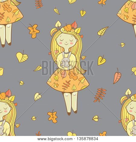 Seamless pattern with cute cartoon girls in beautiful dresses and rabbits on gray background. Autumn season. Falling leaves. Children's illustration. Vector image.