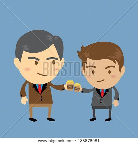 Coffee cheers boss and salaryman, Business concept