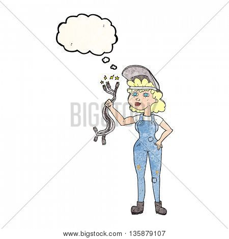 freehand drawn thought bubble textured cartoon electrician woman