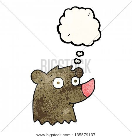 freehand drawn thought bubble textured cartoon bear