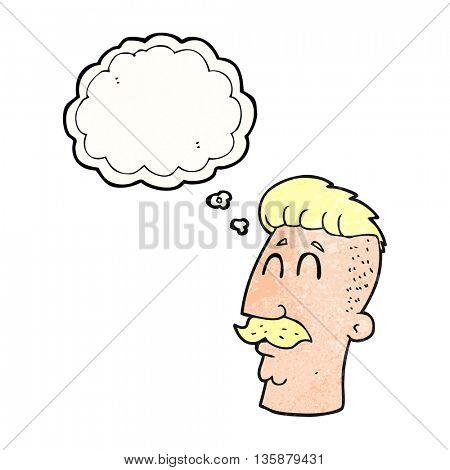 freehand drawn thought bubble textured cartoon man with hipster hair cut