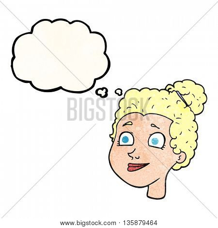 freehand drawn thought bubble textured cartoon female face