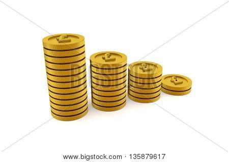 3D rendering of stacks of golden coins on white background pound currency