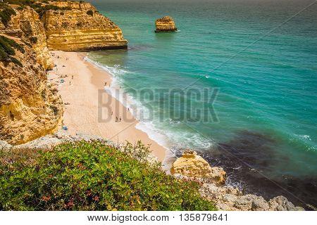 Marinha Beach located on the Atlantic coast in Portugal Algarve.