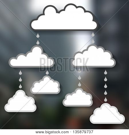 Templates for the text in the form of clouds on a blur background