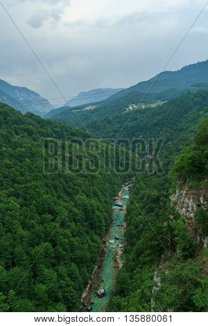 Beautiful view from the bridge on the Tara River Canyon, one of the largest canyons in Europe.